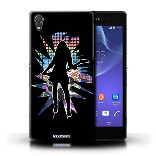 Kobalt® Imprimé Etui / Coque pour Sony Xperia Z2 / Pencher Blanc conception / Série Rock Star Pose Rock Dame Noir