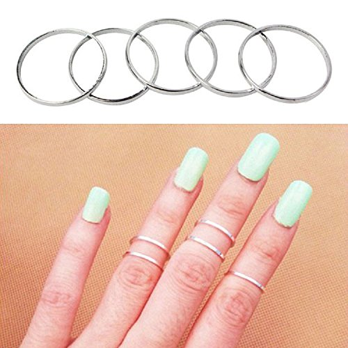Butterme 5pcs Set Fashion Damen Knuckle Stacking Rings Joint Knuckle Nagel Ring Set Nail Finger Ringe Geschenk ,Silber