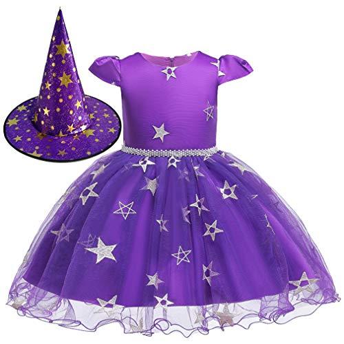 Gaga Baby Kostüm - Gaga city Halloween Kostüm Baby Mädchen Kurzarm Spitze Prinzessinen Kleid mit Stern Bedruckt + Hut Outfit Lila/80