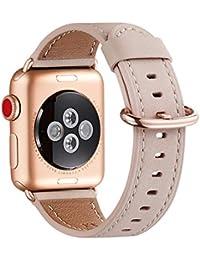 WFEAGL Kompatibel für Watch Armband 38mm 40mm 42mm 44mm,Top Grain Lederband Ersatzband mit Edelstahl-Verschluss Kompatibel für Serie 5/4/3/2/1(38mm 40mm, Rosa Sand+Rosé Gold Adapter)