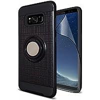 Samsung Galaxy S8 Hülle mit Bildschirmschutz 360 Grad drehbarer Ring Grip Ständer Dual Layer Handyhülle Shock-Absorption Cover Schutzhülle für Samsung Galaxy S8 (Schwarz)