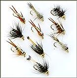 10Summer Nymphs Fliegenfischen Fliegen 33j-12–1B zu 5B Größe 12