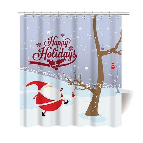 gwein Weihnachten Motiv Happy New Year Weihnachten Santa Dekorative Duschvorhang Polyester Stoff Schimmelfest Wasserdicht Tuch Dusche Room Decor Dusche Vorhänge, Polyester-Mischgewebe, violett, 66x72inch