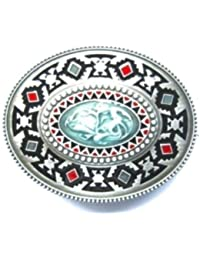 "Western Country - Boucle ceinture cowboy "" Indian design "" - Metal argente Turquoise # WT102"