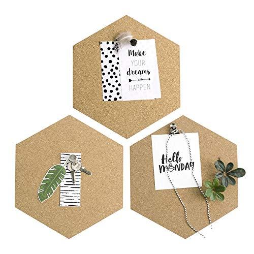 Dresz Pinnwand, Korkplatte, Message Board, Sechseck Form, Selbstklebend, 3 Stuck, 20,1 x 23,1 x 0,8 cm