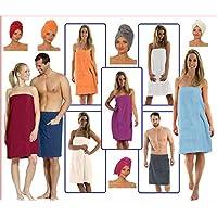 NATURA WALK Damen und Herren Saunakilt, Bio-Baumwolle,Neuheit: Schlingenfeste Qualität, Kein Fädenziehen Mehr (Vivid Pink, Damen L - XL)