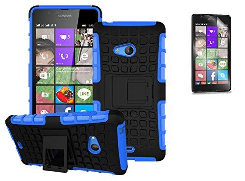 Preisvergleich Produktbild Microsoft Lumia 540 Dual SIM / Nokia Lumia 540(2015) Hülle mit Schutzfolie, TPU+PC Ultra Slim Silikon Tough Rugged Dual-Layer Hardcase with Built-in Kickstand Thin Stand Case