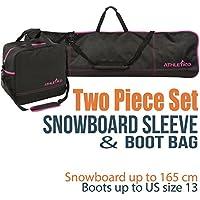 Athletico - Juego de 2 Bolsas para Snowboard y Botas, Incluye 1 Bolsa para Tabla de Snowboard y 1 Bolsa para Botas, hasta 165 cm, Color Negro