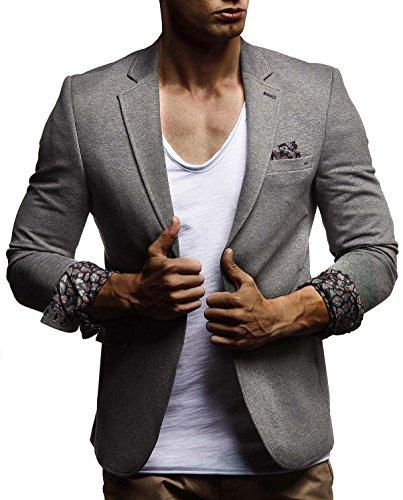LEIF NELSON Herren Sakko Blazer sportlich Slim Fit Modern Hemd T-Shirt Schwarz Blau Anthraztit LN4007 ; Größe XL, Anthrazit