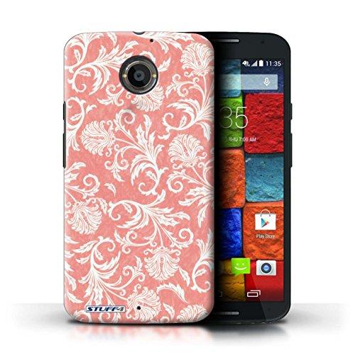 Kobalt® Imprimé Etui / Coque pour Motorola Moto X (2014) / Fleurs Vertes conception / Série Fleurs Fond Rouge
