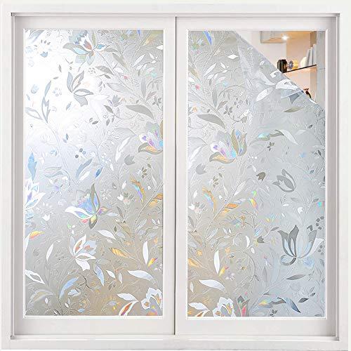 Volcanics Fensterfolie Selbsthaftend Blickdicht Sichtschutzfolie Fenster 3D Fensterfolie 90 x 300 cm Sichtschutz Glasfolie Statisch Haftend UV-Schutz ohne Kleber Dekofolie Blumen - Wiederverwendbare Fenster-folie