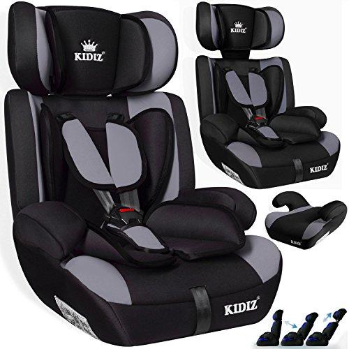 KIDIS® Autokindersitz Kinderautositz Sportsline Gruppe 1+2+3 | 9-36 kg Autositz Kindersitz | Stabil und Sicher | Farbe Grau
