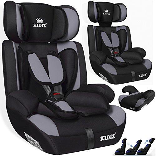 Kidiz® Autokindersitz Kinderautositz Sportsline ✓ Gruppe 1+2+3 ✓ 9-36 kg ✓ Autositz ✓ Kindersitz | Stabil und Sicher | | Farbe: Grau