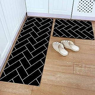 BMG Waschbare Eingang Fußmatte Schwarz Lustige Bodenmatte Küche Langer Teppich Im Freien Korridor Teppich Haustür Eintrag Mats,C,40 * 60/40 * 120
