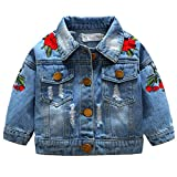 ARAUS Baby Girl Denim Jacket Embroidered Floral Jeans Coat Clothes 0-5 Years