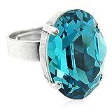 nobel-schmuck Ring mit Kristall von Swarovski® Silber Blau Türkis Verstellbar