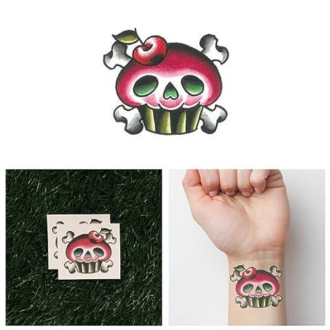 Tattify Tatouages Temporaires Cräne Cupcake - Deathcake (Set de