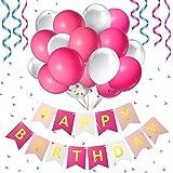 Decorazione di compleanno per bambini, Set di decorazioni di compleanno, Gifort Decorazione di buon compleanno con 9 Pom Pom di carta velina + 20 palloncini + 1 ghirlanda di pennant di buon compleanno (rosa)