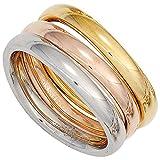 Ring Damenring Edelstahl 3-teilig gelb/weiß/rot tricolor PVD Beschichtung, Ringgröße:Innenumfang 62mm ~ Ø19.75mm