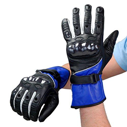 Lemoko, guanti da moto in pelle nero/blu o nero/rosso taglia S/2XL