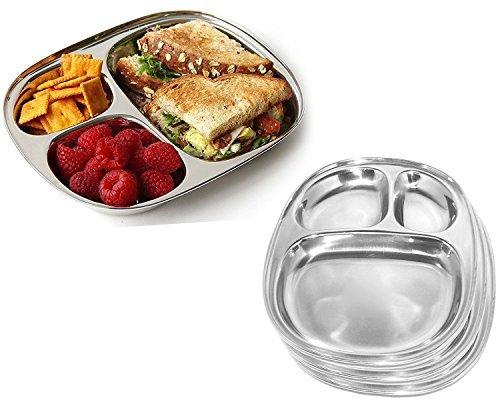 Ovale en acier inoxydable à manger plaque 3 compartiment pour Pav Bhaji et petit-déjeuner, pique-nique assiettes, Vaisselle Plat assiettes, vaisselle, Pâques / Fête des Mères / Thali Cadeaux du Vendredi Saint, 9,9 X 8,3 pouces (Argent)