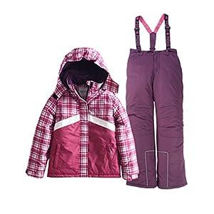 M2C Mädchen Skianzug Skihose & Skijacke mit Kapuze Plaid