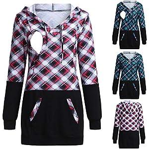 Amphia – Schwangerschaft Umstandsmode Tuniken – Frauen Schwangere Frauen Langarm Pflege Plaid Hoodie Pullover Tops Stillen Stillen Kleidung