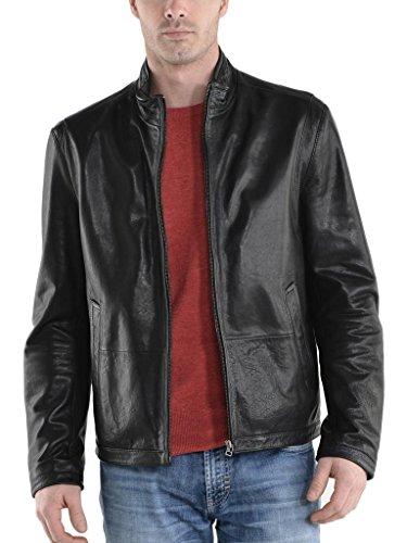 Herren Leder Jacke Biker Motorrad Mantel Slim Fit Jacken, auk059 Gr. Small, schwarz (Herren Leder-junction-jacke)