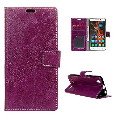 Casefirst Lenovo Vibe K5 K5 Plus Wallet Case, Lenovo Vibe K5 K5 Plus Leather Case, Premium PU Leather Defender Cover Case Folio Stand Bumper Back Cover for Lenovo Vibe K5 K5 Plus - Purple