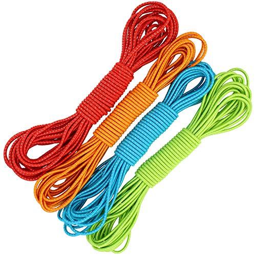 com-four Cinturino 4X Gummitwist per Bambini - Corda per Saltare in Gomma - Gomma per Saltare in Diversi Colori [Il Colore Varia] (10 Metri - 04 Pezzi Colorati)