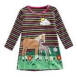 bobo4818 Kleinkind Baby Kinder MäDchen Regenbogen Streifen Pferd Blumen Party Kleider Kleidung Mädchen Baumwolle Langarm Streifen Tiere T-Shirt Kleid for 18m-6 Jahre