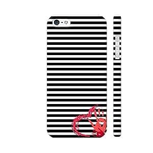 Colorpur Handmade Retro Heart On Stripes Artwork On Apple iPhone SE Cover (Designer Mobile Back Case) | Artist: Neeja Shah