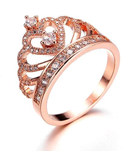 Borong Ring-Damen Frauen Schmuck Krone Tiara Prinzessin Herz mit Rose Vergoldet Zirkonia Verlobungsringe Ehering Geschenk für Mädchen (Ring Mit Krone)