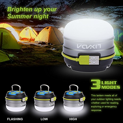 Lixada 3W 280LM 3 Modi Outdoor Camping Laterne,Camping Lampe,3000mAh Powerbank USB Wiederaufladbaren mit Magnet 12LEDs