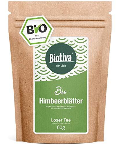 Himbeerblätter-Tee (60g, Bio) - Geburtsvorbereitung - Schwangerschaft - sehr große Blätter - Reicht für 40 Tassen - von Hebammen empfohlen - Abgefüllt und kontrolliert in Deutschland (DE-ÖKO-005)