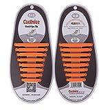 Newkeen No Tie Silikon Schnürsenkel für Kinder und Erwachsene - Wasserdichte Silikon flache elastische Sportlauf Schnürsenkel mit Multicolor für Sneaker Stiefel Brettschuhe (Orange)