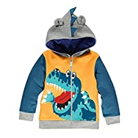 Garsumiss Baby Boys Zip Up Hoodie Dinosaur Sweatshirt Coat Jacket Zipper Tops, Yellow, 7 Years