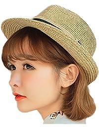 Leisial Unisexe Panama Chapeau de Paille Casquette visières en Lin Tissage Anti UV Anti-soleil Respirant Anti-UV pour été Loisir Voyage Chapeau de Soleil