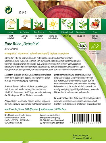 N.L. Chrestensen 17140-nl Rote Rübe Detroit 2 (Bio-Rübensamen)