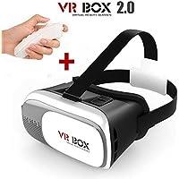 """Gafas 3D VR BOX 2.0 de Realidad Virtual para Smartphone desde 3,5"""" a 6,0"""" + Mando Controlador Remoto Gafas de Vídeo 3D para Juegos y Videos compatibles con Smartphones Android e IOS como Samsung, Sony, iPhone, etc.."""