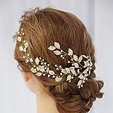 Unicra novia boda perla pelo vides cristal Babys aliento tocados boda accesorios para el cabello para mujeres y niñas (oro rosa)