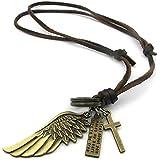 KONOV Schmuck Herren Damen Halskette, Engel Flügel Kreuz Anhänger mit Leder Kette, Braun Gold