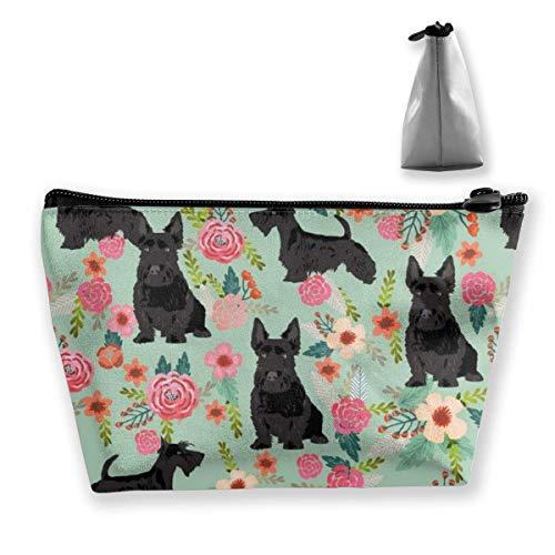 Pencil Case Black Scottie Dog Pouch Portable Cosmetic Handbag Coin Purse Travel Toiletry Beach Wash Bag -