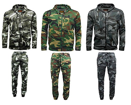 Game Men's Camouflage Camo Fleece Zip Hoodie Tracksuit Jogger Jogging Bottom Fishing Hunting Camping