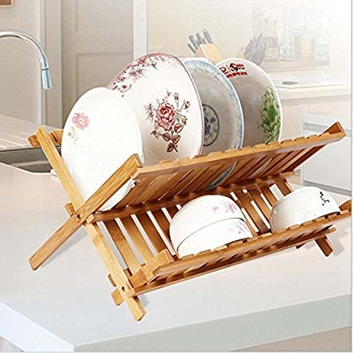 Bamboo Teller-rack (miyare Disk Geschirr Rack Abtropfgestell, 2Teller Regal doppelte Entwässerung, zusammenklappbar Aufbewahrung Schale Rack Bambus Küche)