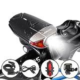 OUTERDO Luce Anteriore Bici USB Ricaricabile Ultra Luminosa Risparmio Energetico Impermeabile Allegare Anelli a Vento, Può Essere Usato Come Luce Per Casco,Garantire La Sicurezza Di Cavalcata