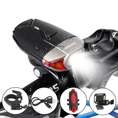 OUTERDO Fahrradlicht Set, 400Lumen Scheinwerfer inkl. Front-&Rücklicht fahrradbeleuchtung mit verstellbarem Verband und Alulegierung-Lampenhalter -StVZO