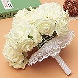 LuckyFine 50PCS Schiuma Rosa Bouquet Da Sposa Bouquet Floreale Fiori Artificiali Nuziale Decorazione Wedding 7 Centimetri Bianco Puro