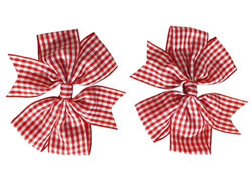 2 x Red Gingham Check Hair Bows Hair Clips Ideal for Matching BTS Back to School Summer Dress's Uniform