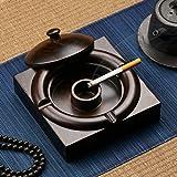 Ashtray AS Cenicero Madera de Zen Negro a Prueba de Viento Cenicero para Cigarrillos Manualidades Cenicero Creativo Hogar Sala de Estar Decoraciones de Oficina Regalos creativos